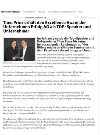 Bild zum NEWSMAX Theo Prinz erhält Excellence Award